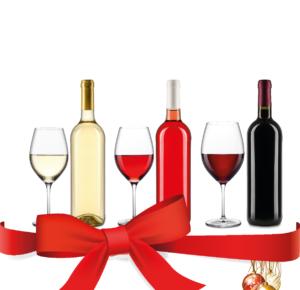 Weinflaschen und Schleife